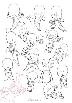 Body Reference Drawing, Drawing Reference Poses, Anime Drawings Sketches, Cute Drawings, Chibi Sketch, Chibi Drawing, Chibi Body, Poses References, Drawing Expressions