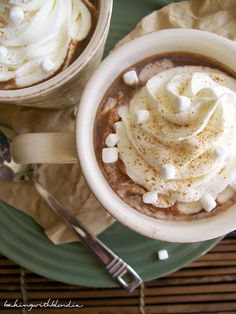 Pumpkin Spice Hot Chocolate from BakingwithBlondie.Blogspot.com! #recipe #dessert