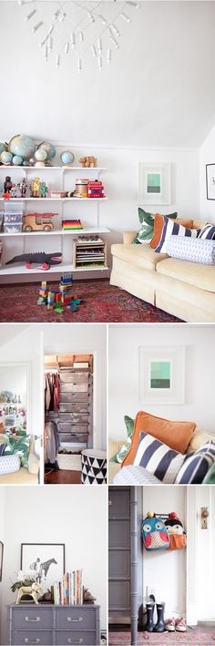 Kid space: low coatrack for kids to hang their own bags/coats, open shelves = toy storage (+ lookit all those globes!)