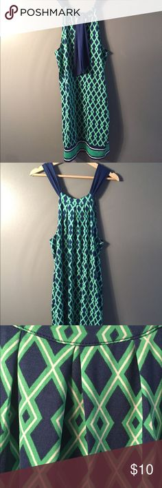 """Mud Pie green and blue patterned halter dress 39"""" long and the perfect, breathable material for spring and summer! Tie up halter style with a very versatile pattern. Offers welcome. Mud Pie Dresses Mini"""