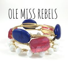 University of Mississippi Rebels Game Day Wire Wrapped Bangles Set, Courtney And Courtnie, Slab, Crystal Bracelet, Handmade Jewelry by CourtneyAndCourtnie on Etsy https://www.etsy.com/listing/241477847/university-of-mississippi-rebels-game