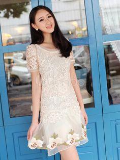 Beautiful White Chiffon Floral Print Lace Vintage Dress - Milanoo.com