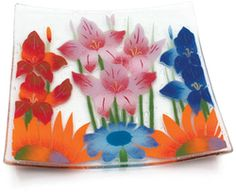 "Wild Flowers by Fusion Art Glass - 10"" Square Plate"