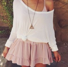 minus the necklace. white top. light pink dress. brandy.