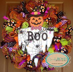 Halloween Pumpkin Ghost Deco Mesh Wreath by Jennifer Boyd Designs.  www.facebook.com/JenniferBoydDesigns www.etsy.com/shop/JenniferBoydDesigns