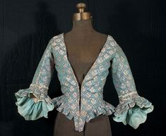 French brocaded silk damask caraco, c.1770, from the Vintage Textile archives.
