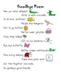 Goodbye Rhyming Poem - Free Printable