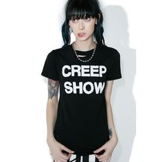 Local Boogeyman Creep Show Tee ($50) ❤ liked on Polyvore featuring tops, t-shirts, babydoll tee, patterned tops, print top, baby doll tops and print t shirts