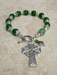 Genuine Green Jade Antique Silver Celtic Irish Rosary Prayer Bracelet