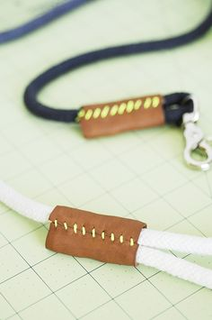 Idea for closing off rope necklace - stitched leather. Via Curbly