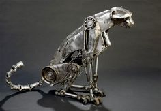 Steampunk Sculpture Cheetah by Andrew Chase