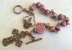 I handcraft heirloom quality gemstone rosaries in classical chain work. The rosary bead parts are vintage reproduction. Rosary Bracelet, Rosary Beads, Prayer Beads, Beaded Jewelry, Beaded Bracelets, Beaded Bead, Fall Jewelry, Jewellery, Necklaces