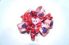 Children's Hair Bow  Valentine's Day Barrette by GoobaGear on Etsy, $8.00