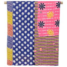 sari patters to reupholster kitchen chairs. Vintage Kantha Throw Blanket - Polka Paradise - throws start at $95 on https://www.connectedgoods.com/Kantha-Quilted-Throw-Blankets.html