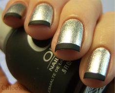 Silver and black french tips using Orly Matte Vinyl & Sally Hansen Celeb City