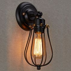 $20.99 Black Industrial Retro Vintage Wustic Warehouse Sconce Wire Cage Wall Light #Country