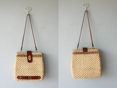wicker bag / 50s straw bag