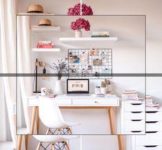 trendy home studio desk diy Study Room Decor, Cute Room Decor, Room Ideas Bedroom, Bedroom Decor, Room Setup, Home Office Space, Home Office Desks, Home Office Furniture, Office Decor