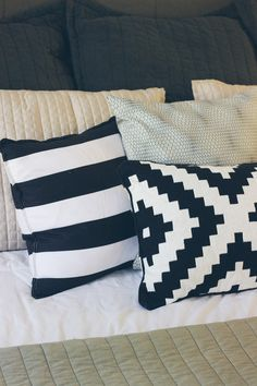 crate and barrel striped pillow, ikat pillow, affordable bed pillows