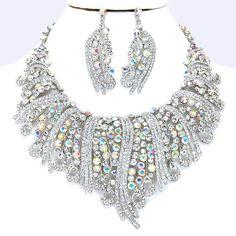 Aurora Borealis AB Crystal Rhinestone Formal Wedding Bridal Prom Party Pageant Bridesmaid Evening Royal Ruff Swirl Necklace Earrings Set Elegant Costume Jewelry
