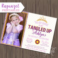 Tangled inspired Favor tags, Printable Tangled inspired invitation, Princess in the tower invitation, Rapunzel invitation by justalittlesparkle