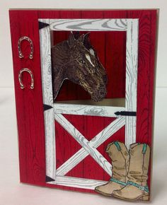 I Made this card using Country Livin, Hardwood and bareback stamp sets by Stampin Up. Hinges are made from the small star punch and the handle is the small candle punch. Horseshoes were in a bottle on my shelf waiting to be used  Independent Stampin Up demo