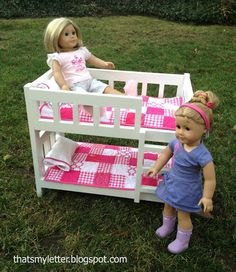 Build Camp Style Bunk Beds for American Girl or 18 Dolls Free and Easy DIY Project and Furniture Plans Diy Doll Bunk Bed, Doll Beds, Diy Bed, Ana White, Bunk Bed Plans, Murphy Bed Plans, Knock Off Decor, American Girl Furniture, Camping Snacks