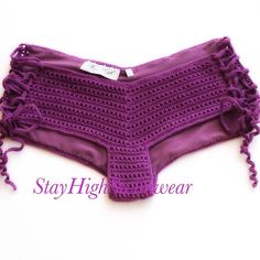 Playa morado corto / Short de Crochet Bikini inferior mujeres traje de baño traje de baño trajes de baño accesorios para mujer de moda de verano / / STAYHIGHSWIMWEAR