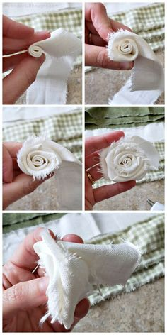Add some floral decor to any room with this beautiful DIY fabric flower garland! This is a great project to use up those fabric scraps! Rolled Fabric Flowers, Making Fabric Flowers, Cloth Flowers, Burlap Flowers, Fabric Roses, Flower Making, Diy Flowers, Felt Flowers, Burlap Crafts