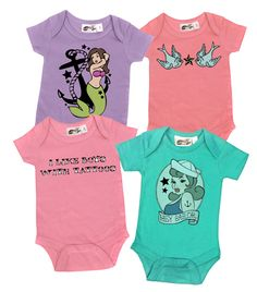 Tattoos Girls 4 One Piece Set - My Baby Rocks www.punkbabycloth... www.mybabyrocks.com #mybabyrocks #punkbabyclothes #baby