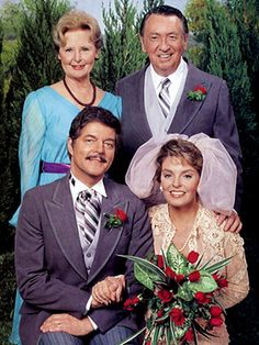 Days of Our Lives' Alice and Tom Horton (played by Frances Reid & MacDonald Carey) with Doug and Julie Williams (played by Bill & Susan Seaforth Hayes)  -  NBC
