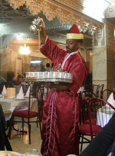 Moroccan Mint Tea Service. I had tea poured for me just like this, in a Moroccan tea shop in Paris!