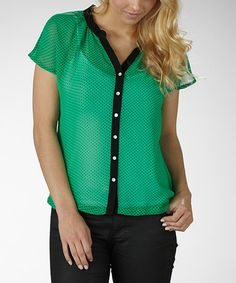 Take a look at this Jade & Black Polka Dot Button-Up by Marika on #zulily today!