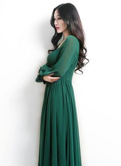 Empire Waist Emerald Green Maxi Dress with Square Neck