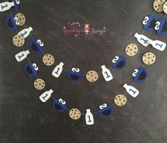 Cookie monster birthday garland milk and by BrandalynsBowtique