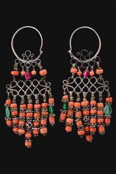 Uzbekistan | Khalka Earrings | Silver, coral and glass beads | First half 1900s