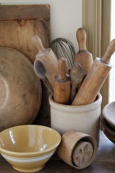 "Yellow ware and Treenware: Treenware is the name for kitchen and other household impliments made from wood. Popular in pioneer days when money and metal were scarce. Can also indicate ""small""  wooden furnishings."