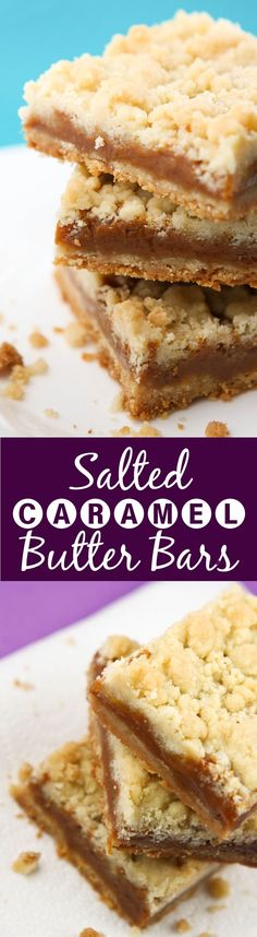 Salted Caramel Butter Bars   Do I really need to tell you that these are to-die-for?! Best desserts bars EVER.