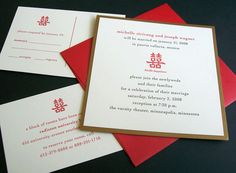 chinese wedding invites   double happiness : Lunalux letterpress stationery - simple but nice