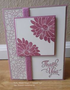 Thank You Card made with Stampin' Up!'s Special Reason and One Big Meaning Stamp Sets, Falling In Love Paper, and Stitched Shapes Framelits. For details go to my Thursday, April 6, 2017 blog at http://www.stampinup.net/blog/2130686/entry/april_6