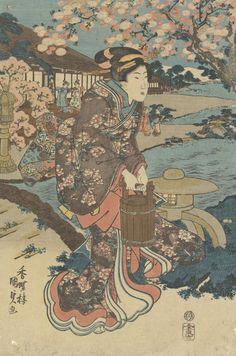 Een bloemenspel in de tuin, linkerblad van een triptiek, 1830 - 1839, Utagawa Kunisada, Van Gogh Museum, Amsterdam (Vincent van Gogh Stichting)