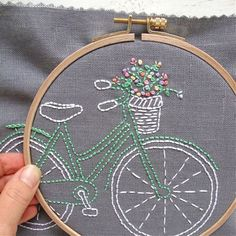 I Heart Stitch Art Bicycle Embroidery Kit - Mint and White on Grey Linen - Basic Hand Embroidery Stitches, Diy Embroidery Kit, Embroidery Transfers, Cross Stitch Embroidery, Contemporary Embroidery, Modern Embroidery, Vintage Embroidery, Applique Quilt Patterns, Embroidery Patterns Free
