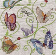 Butterflies decoupage paper napkins, set of 4 spring serviettes, papercraft supply, collage and mix media, butterfly decoupage napkins, g249