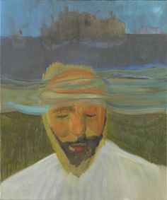 """""""Portrait (Under Water)"""", 2007. An oil on canvas painting by Peter Doig. 32 3/4 x 27 1/2 inches, 83 x 70 cm."""