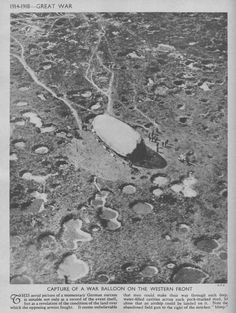 WW1.  Capture of a War Balloon on the Western Front. WW1. Capture d'un ballon d'eau sur le front occidental.