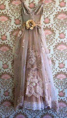 Beautiful Dress...Taupe & Blush Organza Chiffon Appliqué Boho by mermaidmisskristin