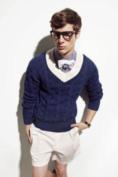 Preppy. Blue. Shorts need not be so short. Lol