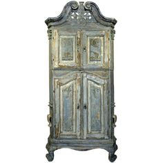 18th Century Swedish Blue Baroque Cabinet ❤ liked on Polyvore featuring home, furniture, storage & shelves, cabinets, blue cabinets, blue painted furniture, blue furniture, painted cabinets and painted furniture