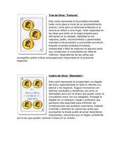 """Tres de Oros: """"Fortuna"""" Esta carta representa la fecundidad entendida tanto como para el inicio de un emprendimiento exito..."""