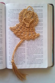 Metallic Gold Crocheted Angel Bookmark